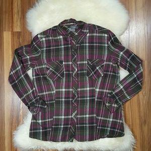 Natural Reflections Long Sleeve Flannel Shirt Lrg